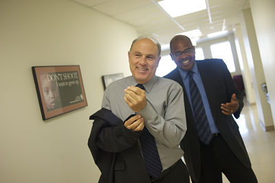 Dr Gary Slutkin and Autry Philips at Cure Violence office, Chicago. (Credit: Bill Healy)